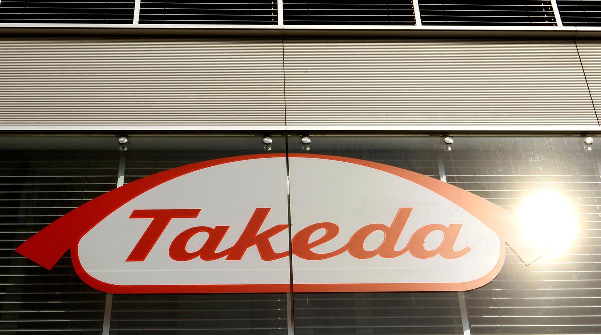 Logo de la farmacéutica japonesa Takeda, que tras la adquisición de la irlandesa Shire se convierte en una de las diez mayores farmacéuticas del mundo.
