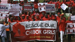 Un grupo de manifestantes en Abuja por la liberación de las 219 chicas de Chibok, poco después de su secuestro el 14 de abril del 2014.