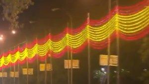 La iluminación navideña con bandera de España de Madrid.