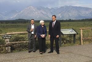 Janet Yellen (Reserva Federal), Mario Draghi (BCE) y Haruhiko Kuroda (Banco de Japón), en el reciente encuentro de Jackson Hole.