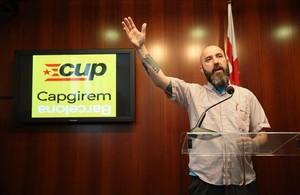 El concejal de la CUP Josep Garganté, en la rueda de prensa tras el polémico vídeo.