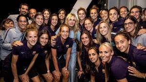 Las jugadoras del Barça, con Julia Roberts, en Pasadena