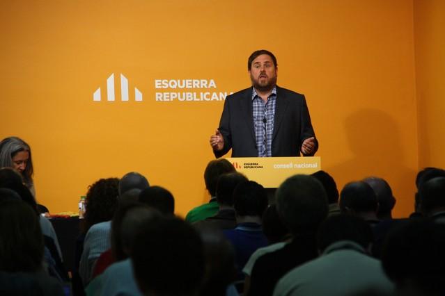 El líder de ERC, Oriol Junqueras, este sábado, durante su intervención en el Consell Nacional.