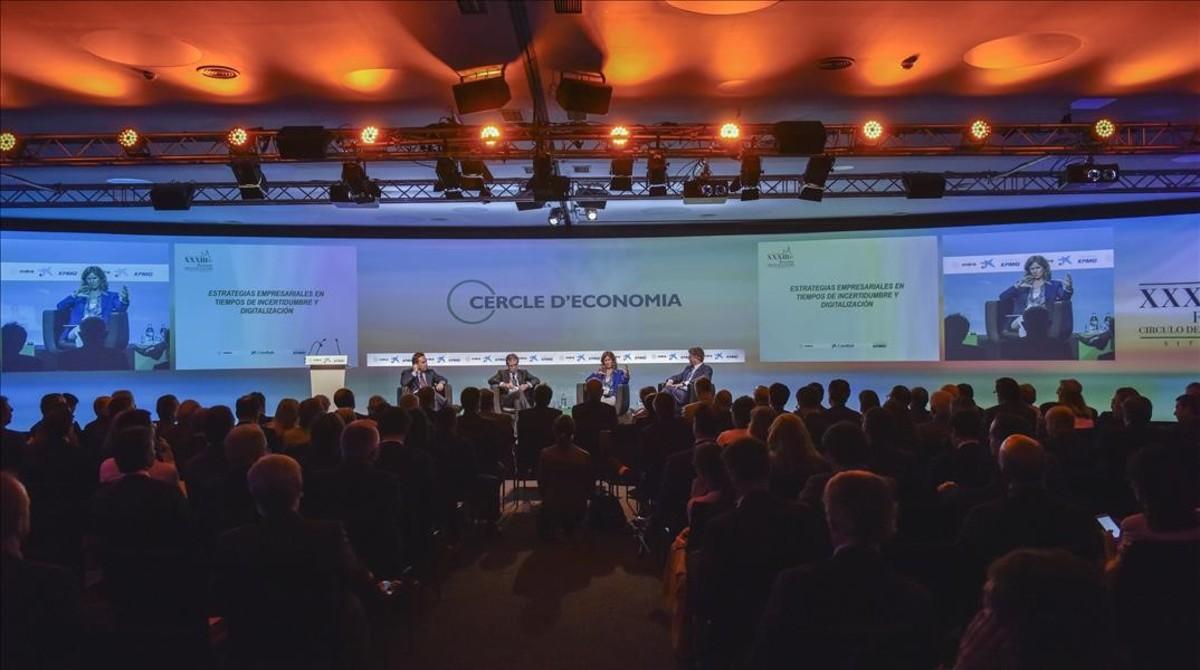 Coloquio sobre estrategia empresarial en las Jornades del Cercle d'Economia, en Sitges.