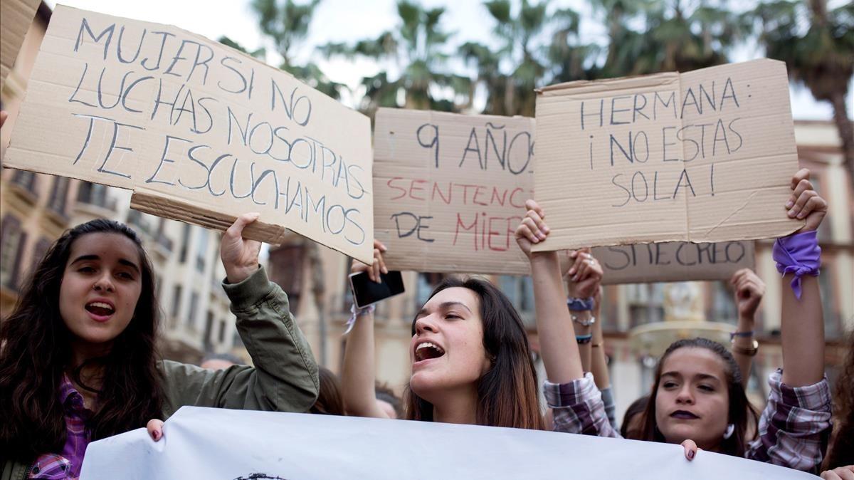 Manifestación en Málaga contra la sentencia.