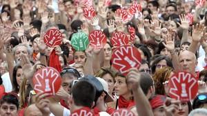 Concentración de protesta en Pamplona, el pasado 7 de julio,contra la agresión sexual a una joven de 18 años.