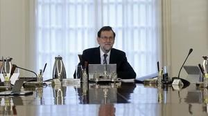 El presidente del Gobierno, Mariano Rajoy, en la primera reunión del nuevo Consejo de Ministros de esta legislatura.