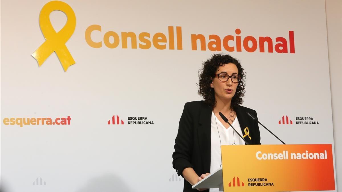 Marta Rovira, el pasado día 4 de noviembre, en un consejo nacional de ERC.