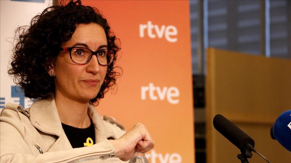 Marta Rovira, en una rueda de prensa en la sede de la agencia Efe en Barcelona, este lunes.