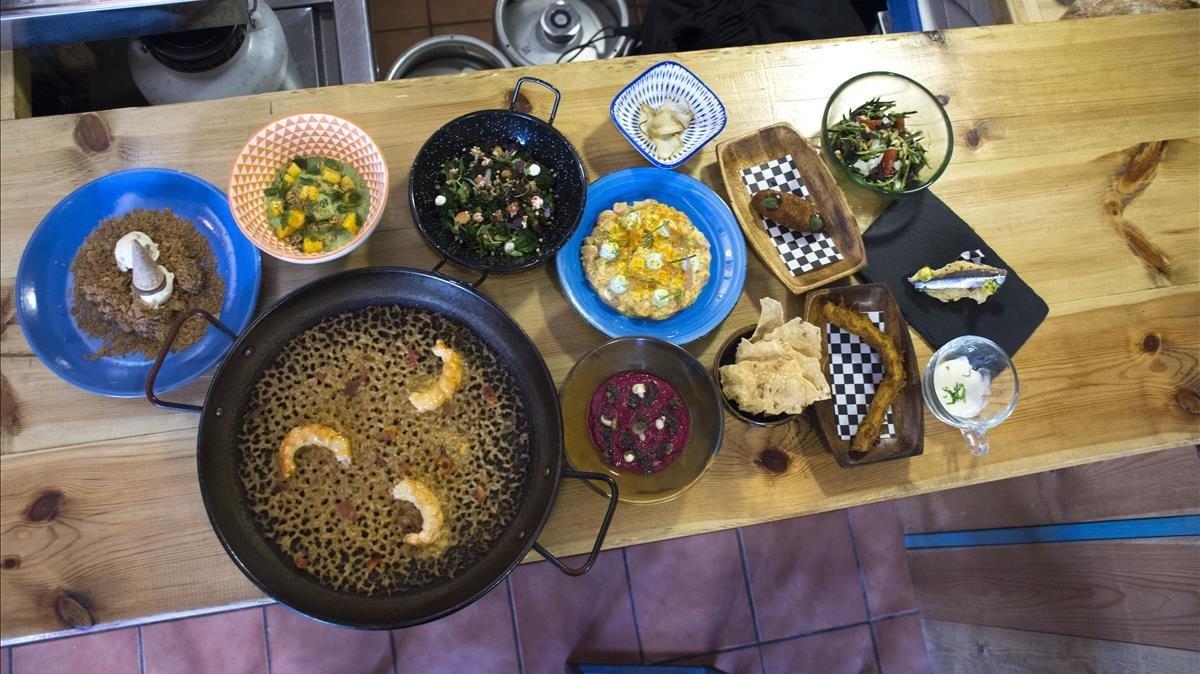 Los platos que conforman el menú degustación de Cruix (Entença, 57). Cuesta 28 euros.