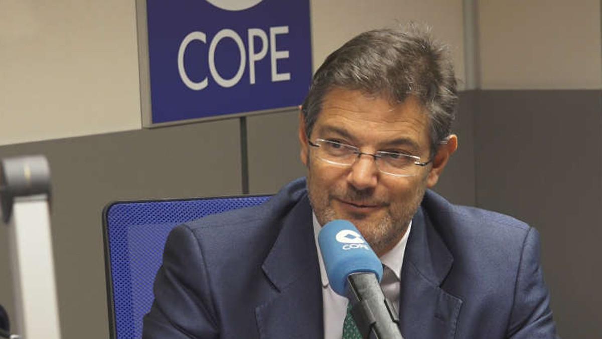 El ministro de Justicia, Rafael Catalá, durante la entrevista en la Cope.