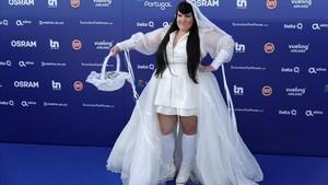 Netta Barzilai, representante de Israel en el Festival de Eurovisión,en la presentación oficial del domingo.