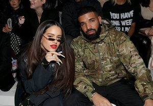 NEW YORK, NEW YORK - FEBRUARY 05: Recording artists Rosalia and Drake attend the 2020 Tokyo Olympic collection fashion show at The Shed on February 05, 2020 in New York City. Bennett Raglin/Getty Images/AFP
