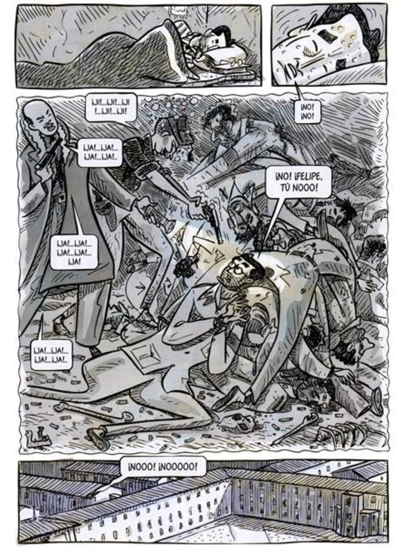 Páginade Dr. Uriel, el cómic de Sento sobre la experiencia de su suegro médico durante la guerra civil.