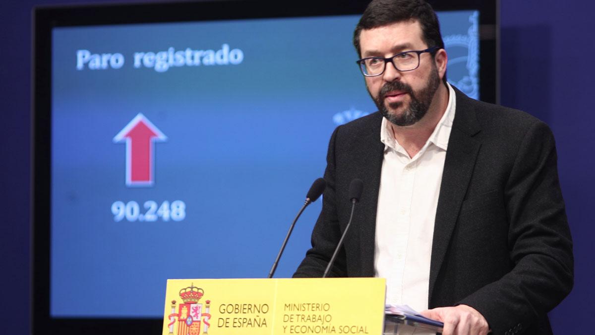 El paro sube en 90.248 personas en enero. En la imagen, el secretario de Estado de Empleo y Seguridad Social, Juaquín Pérez Rey, en la presentación de los datos de paro y afiliación a la Seguridad Social de enero del 2020.