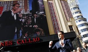 Pedro Sánchez, durante un acto de entrega de propaganda electoral, este miércoles en Madrid.