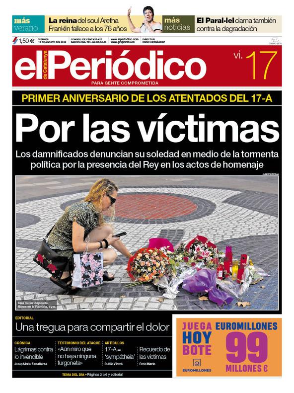 La portada de EL PERIÓDICO del 17 de agosto del 2018