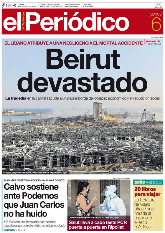 La portada de EL PERIÓDICO del 6 de agosto del 2020