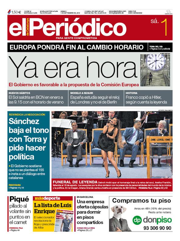 La portada de EL PERIÓDICO del 1 de septiembre del 2018