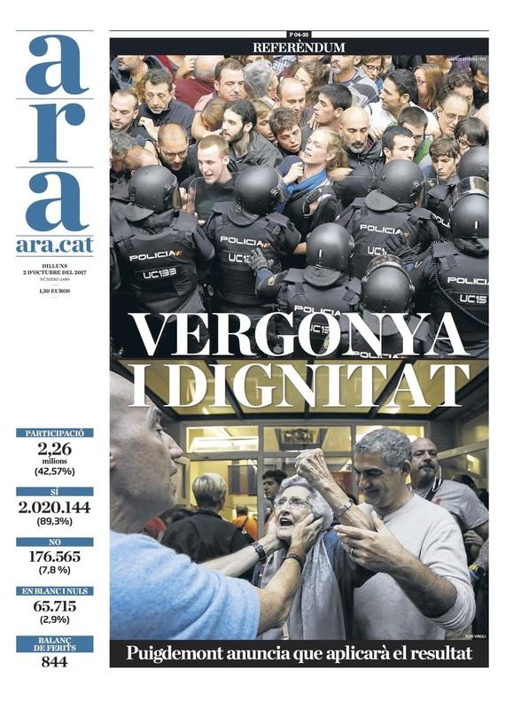 """La prensa de Madrid aplaude la """"firmeza"""" de Rajoy frente al """"golpe"""" y proclama el """"fracaso"""" del referéndum"""
