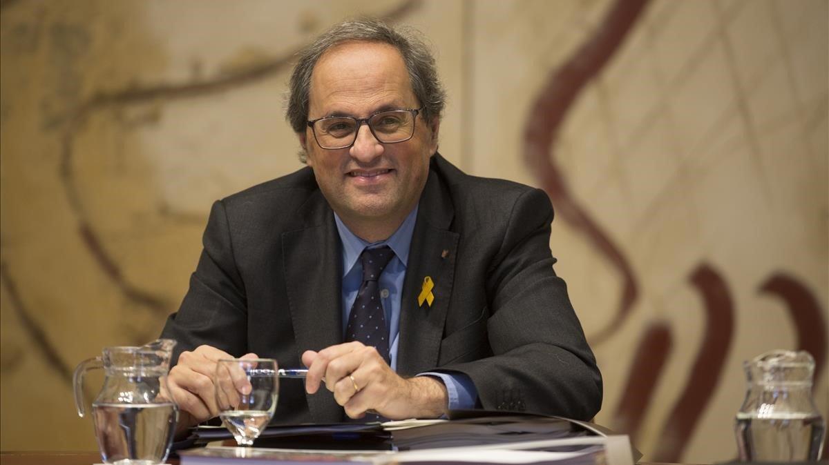 El 'president' Quim Torra, en una reunión del Consell Executiu.