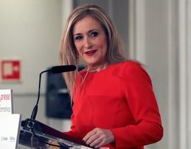 La presidenta de la Comunidad de Madrid Cristina Cifuentes en los desayunos informativos de Europa Press.