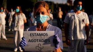 Protesta del personal sanitario del Hospital La Paz de Madrid.
