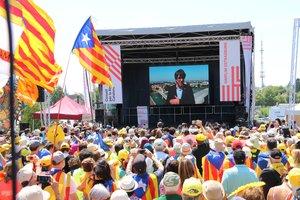 Puigdemont interviene a través de un vídeo y desde suelo alemán en el acto independentista de Estrasburgo, en Francia.