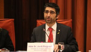 El 'conseller' de Polítiques Digitals i Funció Pública, Jordi Puigneró, durante una comparecencia en el Parlament de Catalunya.