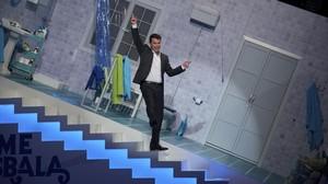 El presentador Arturo Valls, en la prueba del 'Teatro dependiente' de 'Me resbala'.