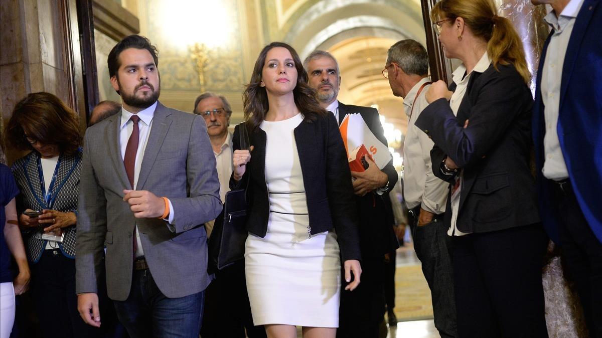 Inés Arrimadas, este martes en el Parlament.