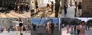Seis fotogramas de producciones porno de la compañía estadounidense Kink en Barcelona,en la Rambla, la Espanya Industrial, el Gòtic, la Catedral, el Maremàgnum y en la plaza de Catalunya.