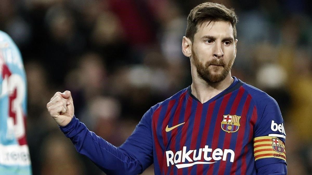 Messi celebra su gol de penalti de este sábado.