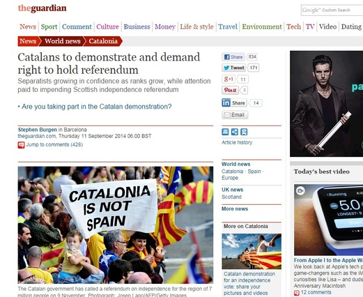 The Guardian compara la Diada con el proceso nacionalista escocés.