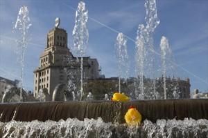 Una fuente de la plaza de Catalunya.
