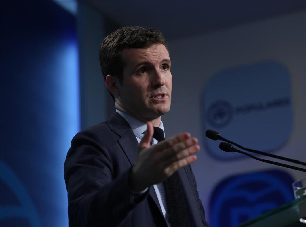 El vicesecretario de comunicación del PP, Pablo Casado, en una rueda de prensa reciente