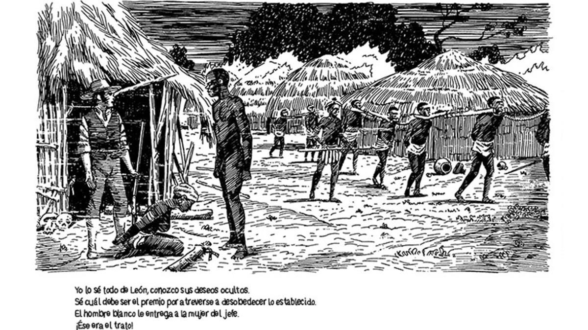 Viñeta de la historieta de 'La encrucijada', con estilo de grabado del XIX sobre la época esclavista que conecta con el tema de percusión africana.
