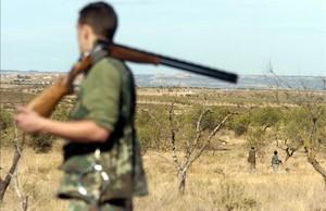 Imagen de uncazador con la escopeta al hombro en el coto de caza de Aspa (Segrià).