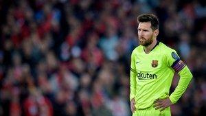 Messi, el martes en el estadio de Anfield durante el partido contra el Liverpool.