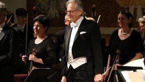 El maestro John Eliot Gardiner, trasel primerde los cinco conciertos que ofrecerá en el Palau esta semana con la Orchestre Révolutionnaire et Romantique.