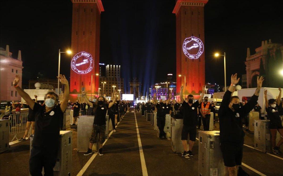 Alerta Roja hizo oír la voz de los trabajadores del espectáculo y los eventos en Barcelona.