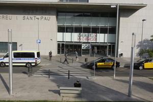 Puerta principal del Hospital de Sant Pau, el martes.