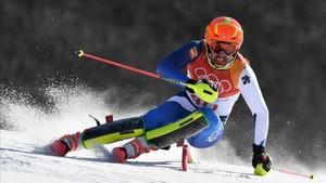 Quim Salarich, en la primera manga del eslalon olímpico.