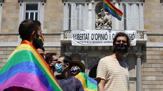 Actos de la celebración del Día del Orgullo en la Plaça Sant Jaume