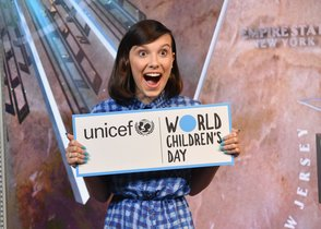 Actress Millie Bobby Brown poses for a photo at the Empire State Building in honor of UNICEF and World Children s Day at Empire State Building  in New York City   Photo by Angela Weiss   AFP