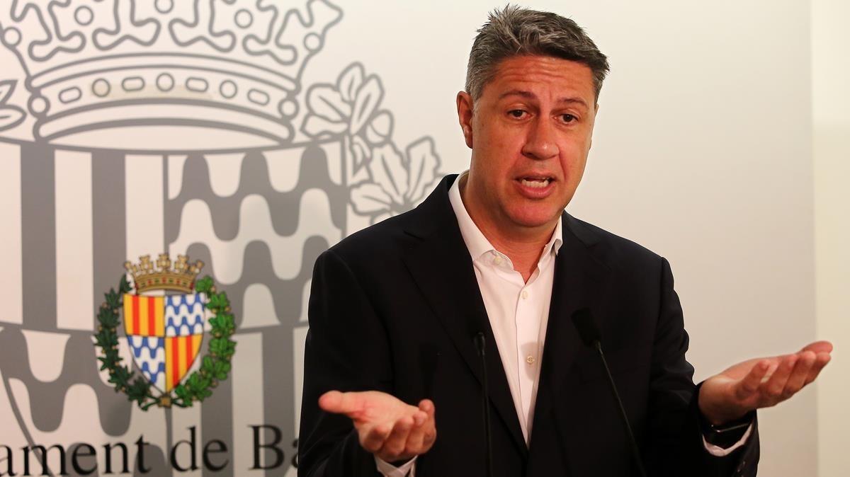 Xavier Garcia Albiol, el pasado 23 de mayo en una rueda de prensa en Badalona