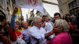 António Costa, ayer en un acto de campaña en el Chiado lisboeta.