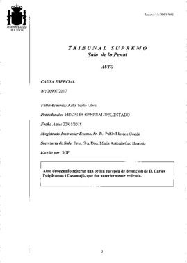 Auto del Supremo que rechaza la orden de detención contra Carles Puigdemont