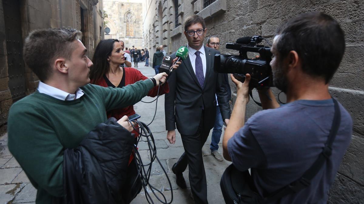 Carles Mundó al finalizar la reunión de Govern.