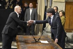 El conseller de Afers Exteriors, Raül Romeva, toma posesión del cargo.